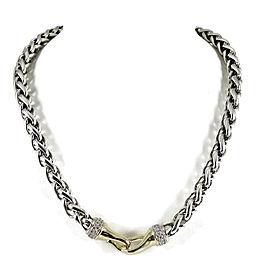 David Yurman 18K Yellow Gold, Sterling Silver Pave Diamond Wheat Chain Necklace