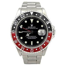 Rolex GMT Master II 16710 Stainless Steel Black & Red Bezel 40mm Mens Watch