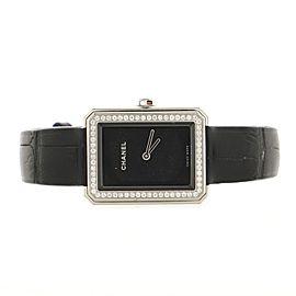 Chanel Boy·Friend Quartz Watch White Gold and Alligator with Diamond Bezel 22
