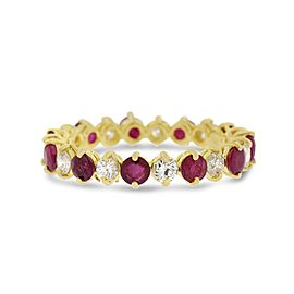 2.02 Ct. Natural Diamond & Ruby Alternating Eternity Band In 18K Yellow Gold