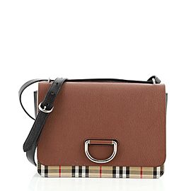 Burberry D-Ring Shoulder Bag Leather with Vintage Check Canvas Medium