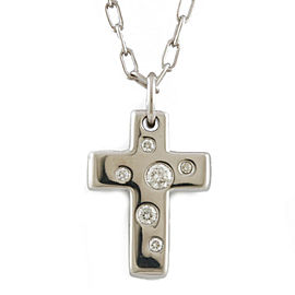 TIFFANY & Co. 18k white gold Diamond 6 stones cross Dots Necklace