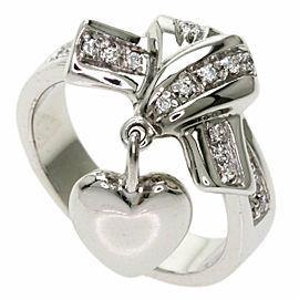 GUCCI 18K White Gold Heart charm Diamond Ring TNN-2027