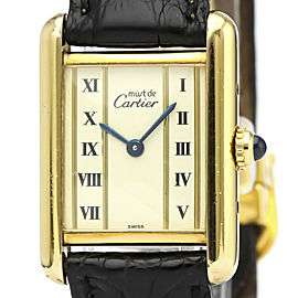CARTIER Must Tank Vermeil Gold Plated Quartz Ladies Watch 5057001