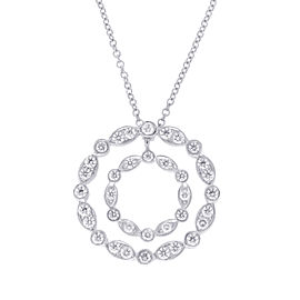 Tiffany & Co. 950 Platinum with 0.75ct Diamond Double Circle Necklace