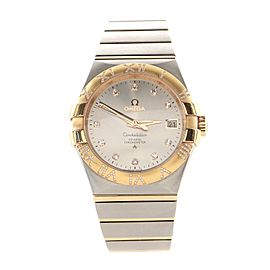 Omega Constellation Co-Axial Chronometer Automatic Watch Stainless Steel and Rose Gold with Diamond Markers and Numerals 35