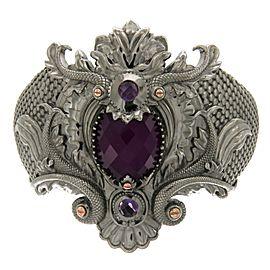 Stephen Webster 925 Sterling Silver Black Rhodium Amethyst & Quartz Crystal Haze Verne Bangle Bracelet