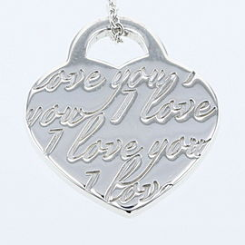 TIFFANY & Co Silver925 Notes I LOVE YOU Heart tag Necklace TBRK-16