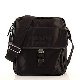 Prada Logo Flap Messenger Bag Tessuto Small