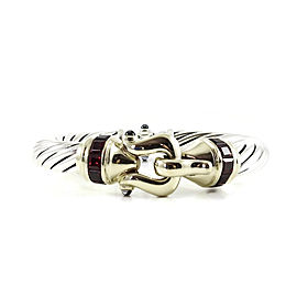 David Yurman Sterling Silver 14K Yellow Gold 10mm Rhodolite Garnet Buckle Princess Bracelet
