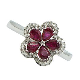 18K White Gold Flower Ruby and Diamond Halo Ring Size 6.25