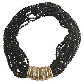 14K Yellow Gold 0.28ct Diamond & Black Bead Multi-Strand Necklace