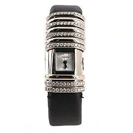 Cartier Declaration 6 Row Pave Diamond Quartz Watch White Gold and Titanium with Diamonds and Satin 16