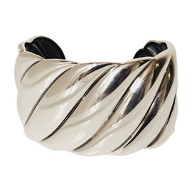 David Yurman Sterling Silver Wide Sculpted Cable Cuff Bracelet
