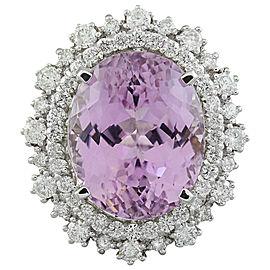 18.58 Carat Kunzite 14K White Gold Diamond Ring