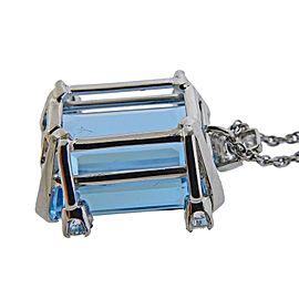35 Carat Aquamarine Gold Diamond Pendant Necklace
