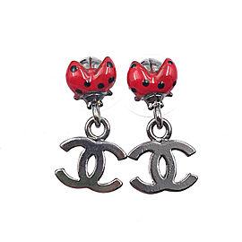 Chanel Gunmetal CC Drop Earrings