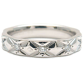 CHANEL 10P Diamond Platinum Matelasse Ring