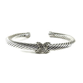 David Yurman X 18K White Gold 925 Sterling Silver .25tcw Diamond Bracelet