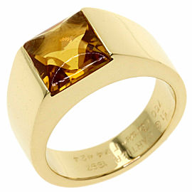 CARTIER 18K Yellow Gold Tank Citrin Ring TNN-2006