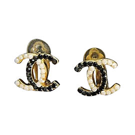 Chanel 209218 Gold-Tone Metal & Black & White Simulated Glass Pearl Earrings