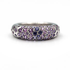 Chaumet Blue And Purple 18 Karat White Gold Ring With 2 Carat Sapphires Ring Size 6
