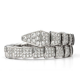 Bulgari Serpenti 18 Karat White Gold With Full Pave Diamonds Bracelet