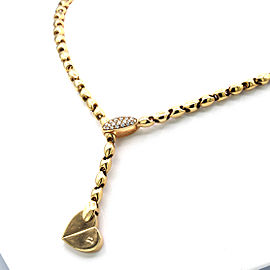 Piaget 18 Karat Yellow Gold Diamond Deformation Heart Motif Necklace