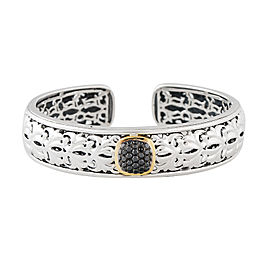 Sterling Silver And Black Diamond Cuff