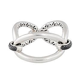 Three Link Bracelet With Black Diamond