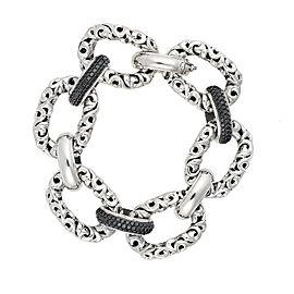 Sterling Silver Link Bracelet With Black Diamonds