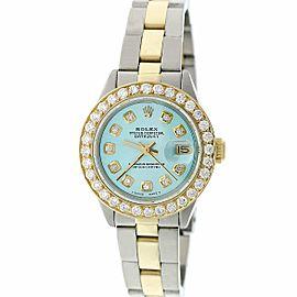 Rolex Datejust Ladies 2-Tone Gold/Steel 26MM Automatic Oyster Watch w/Sky Blue MOP Diamond Dial & 1.30CT Bezel