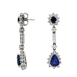18K White Gold 5.64ctw Sapphire and 2.45ctw Diamond Drop Earrings