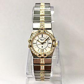 CHOPARD ST. MORITZ Quartz 24mm 18K Yellow Gold & Steel Watch 1.41TCW Diamonds