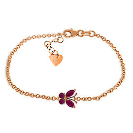 0.6 CTW 14K Solid Rose Gold Butterfly Bracelet Ruby