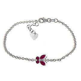 0.6 CTW 14K Solid White Gold Butterfly Bracelet Ruby