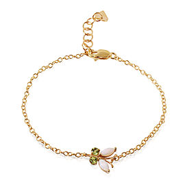 0.6 CTW 14K Solid Gold Flutter Opal Peridot Bracelet