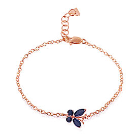 0.6 CTW 14K Solid Rose Gold Butterfly Bracelet Sapphire