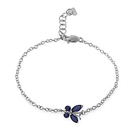 0.6 CTW 14K Solid White Gold Butterfly Bracelet Sapphire