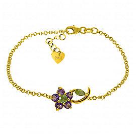 0.87 CTW 14K Solid Gold Flower Bracelet Amethyst Peridot
