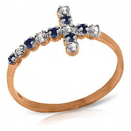 0.24 CTW 14K Solid Rose Gold Cross Ring Diamond Ruby