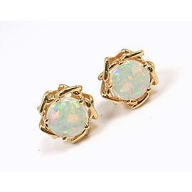 Tiffany & Co. Vintage 18K Yellow Gold Opal Earrings