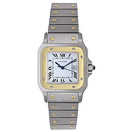 Cartier Santos Stainless Steel & 18K Yellow Gold White Dial Quartz 41mm Mens Watch