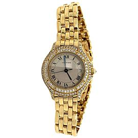 Cartier 18 Karat Yellow Gold Set with 2 Carat Round Brilliant Diamond Watch