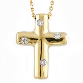 TIFFANY&Co. 18K yellow Gold Diamond Cross dot Necklace