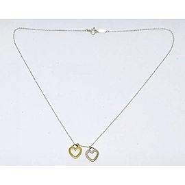 Tiffany & Co. Sterling Silver 18K Rose Gold Double Heart Pendant Necklace