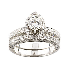 18K White Gold with 1.71ctw. Diamond Engagement Ring Size 7