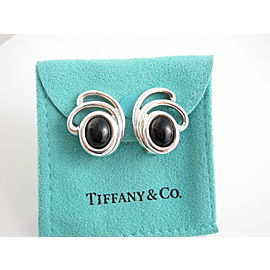 Tiffany & Co Silver RARE Onyx Spray Splash Clip On Earring