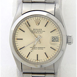 Pre Owned Mid Size Rolex Stainless Steel Datejust with a Silver Dial 6824