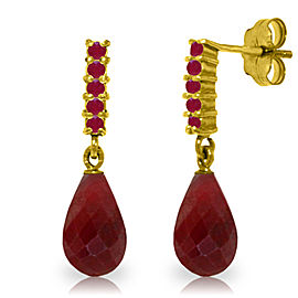 7 CTW 14K Solid Gold Ruby Earrings Briolette Dangling Ruby